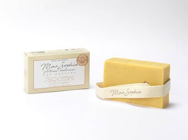 Visuel savon farine de châtaigne et Miel d'Ardèche bio