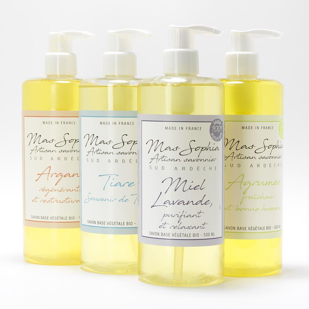 Les savons liquides bio du Mas Sophia en Ardèche