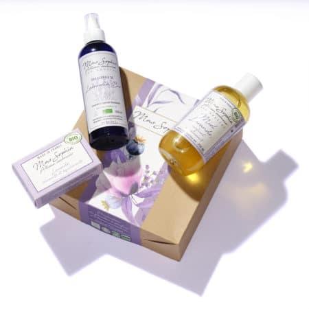 Coffret Lavande Bio comprenant savon dur, savon liquide et eau florale de lavande